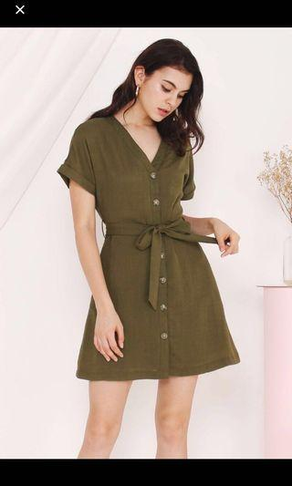 The Willow Label Katie Matcha Linen Dress
