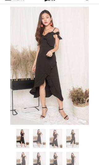 Queenlyn Flutter Dress in black