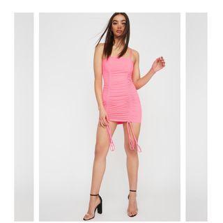 Neon pink ruched mini dress size medium