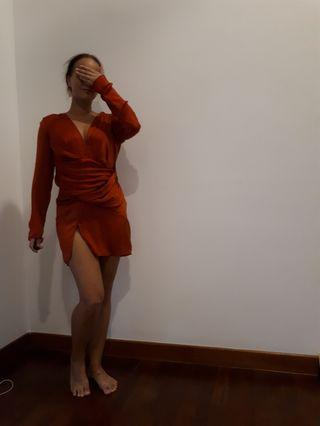 Missguided cocktail dress orange
