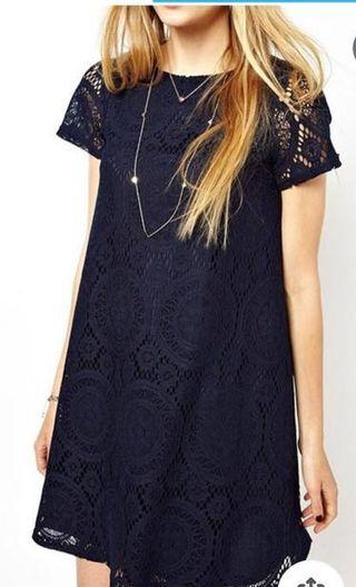 Navy Ladies Short Sleeve Lace Dress