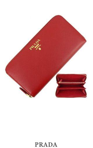 Prada Saffiano Red Leather Wallet