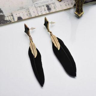 Black Feather Gold Dangle Earrings (PO)