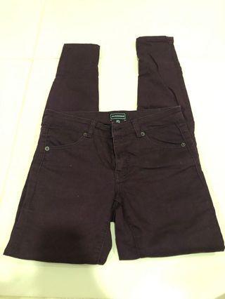 Warehouse denim burgundy skinny jeans in UK8