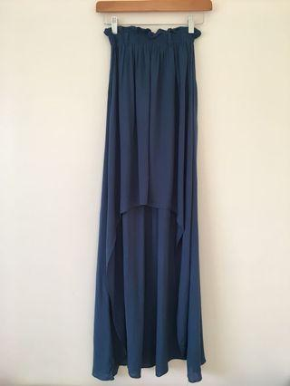 Ice blue high low skirt size small #swapau