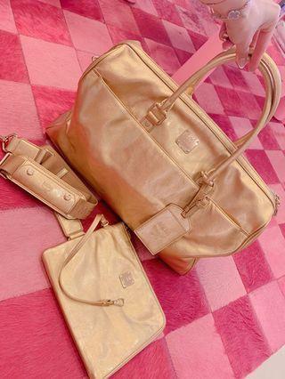 「韓國門市購入」MCM金色限量皮革旅行手提包