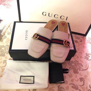 Gucci white GG princetown slipper
