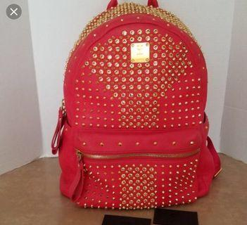 Authentic MCM Swarovski studded large Backpack (leather)
