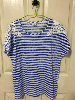 Bossini blue and white striped tee with lace details