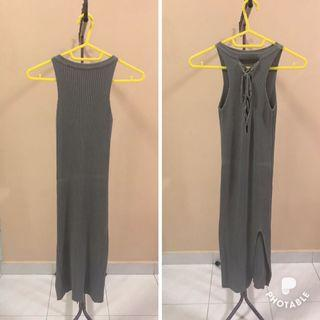 Grey Knitted Maxi Dress
