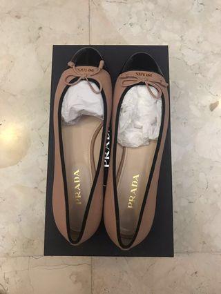 Brand New Prada Cap-Toe Ballerina Flat