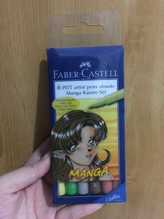 Faber-Castell 6 PITT artist pen >> brush << Manga Kaoiro Set