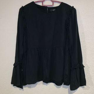 Black Peplum Top with Details