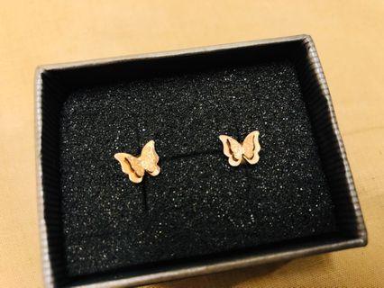 香檳金蝴蝶耳環