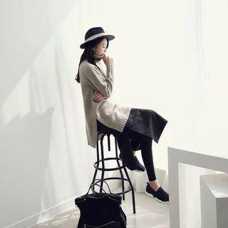 🚚 韓 雙開衩口袋窄長裙