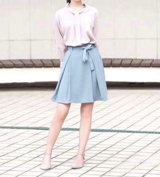 🚚 灰藍綁帶打褶裙