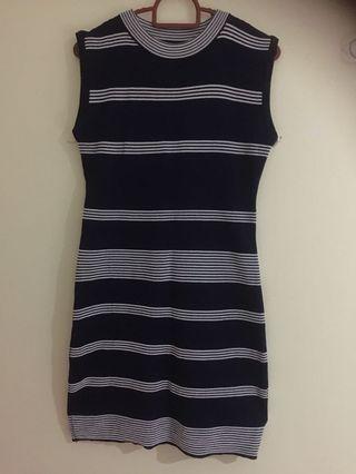 Stretchy Blue White Dress