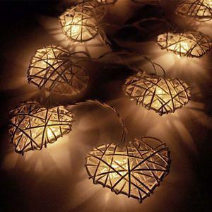 Heart Shaped Rattan Fairy Lights