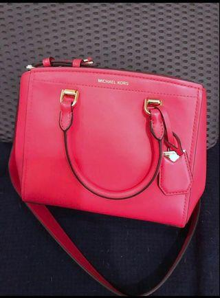 Michael Kors Benning Medium Bag Leather Satchel - deep pink