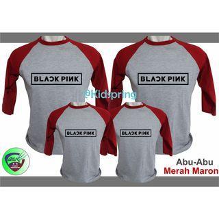 Kaos Couple Raglan Black Pink dewasa anak
