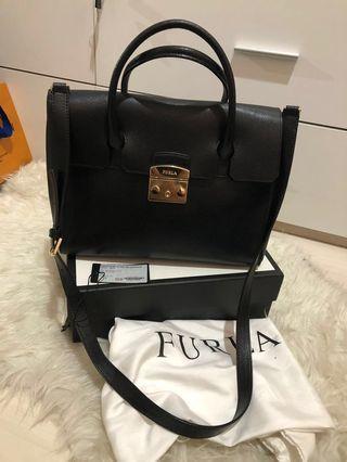 Furla Metropolis Satchel Bag Onyx
