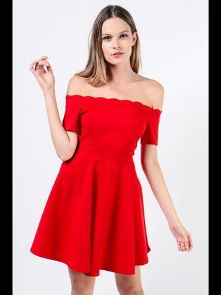 🚚 Dressabelle scalloped hem off shoulder dress in red brand new