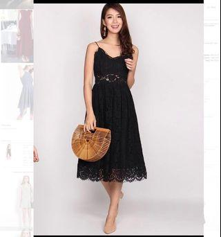 TDC THE DESIGN CLOSETS ARTHION LACE SPAG DRESS IN BLACK (S)