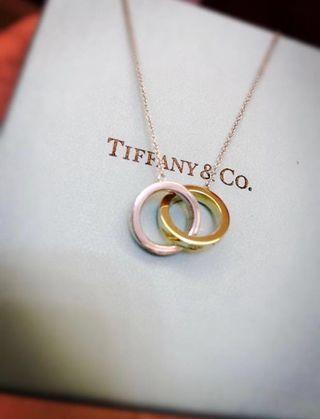 Tiffany & Co 黃金拼銀鎖環頸鍊