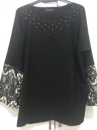 Baju Raya plus size Hitam Dengan Lace #GayaRaya