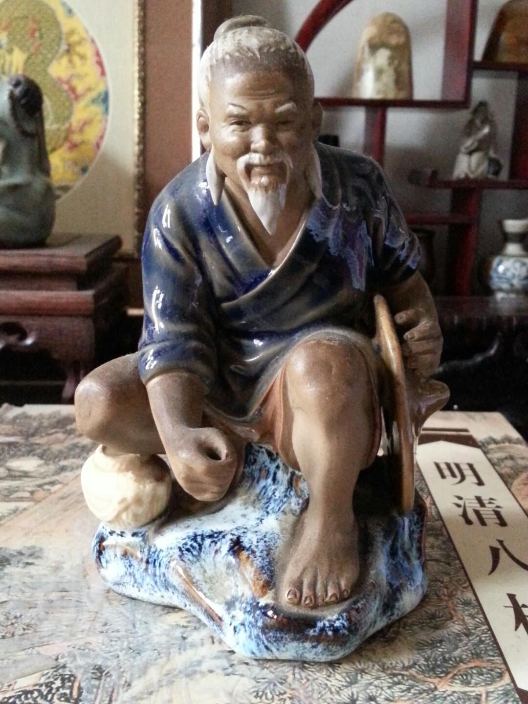 舊陶瓷公仔釣魚翁