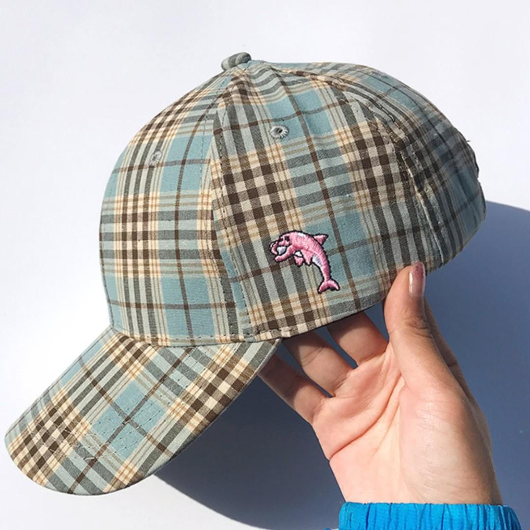 Adjustable Classical Plaid Baseball Caps come with Dolphin Embroidered