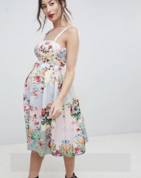 0fdd7d17227e1 ASOS Floral Maternity Dress, Babies & Kids, Maternity on Carousell