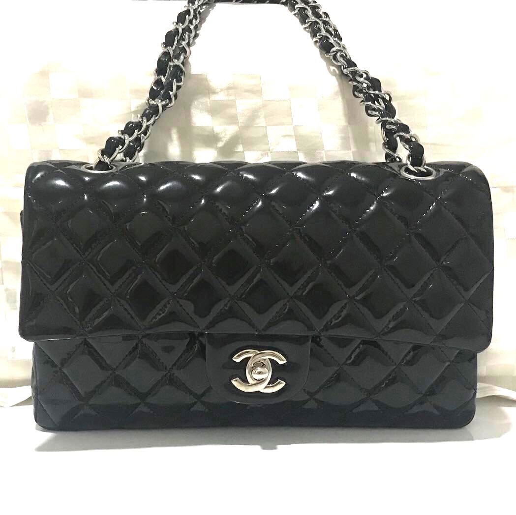 dc6439b32eb3 Auth Classic Black Patent Chanel Lambskin Medium Bag, Luxury, Bags ...