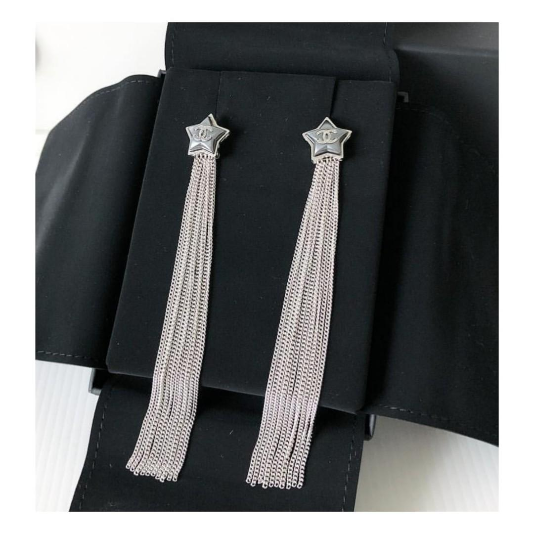 Authentic Chanel Star Dangle Earrings