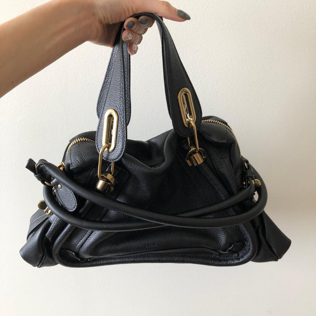 Authentic Chloé Paraty Medium Leather Satchel (Black Colour)