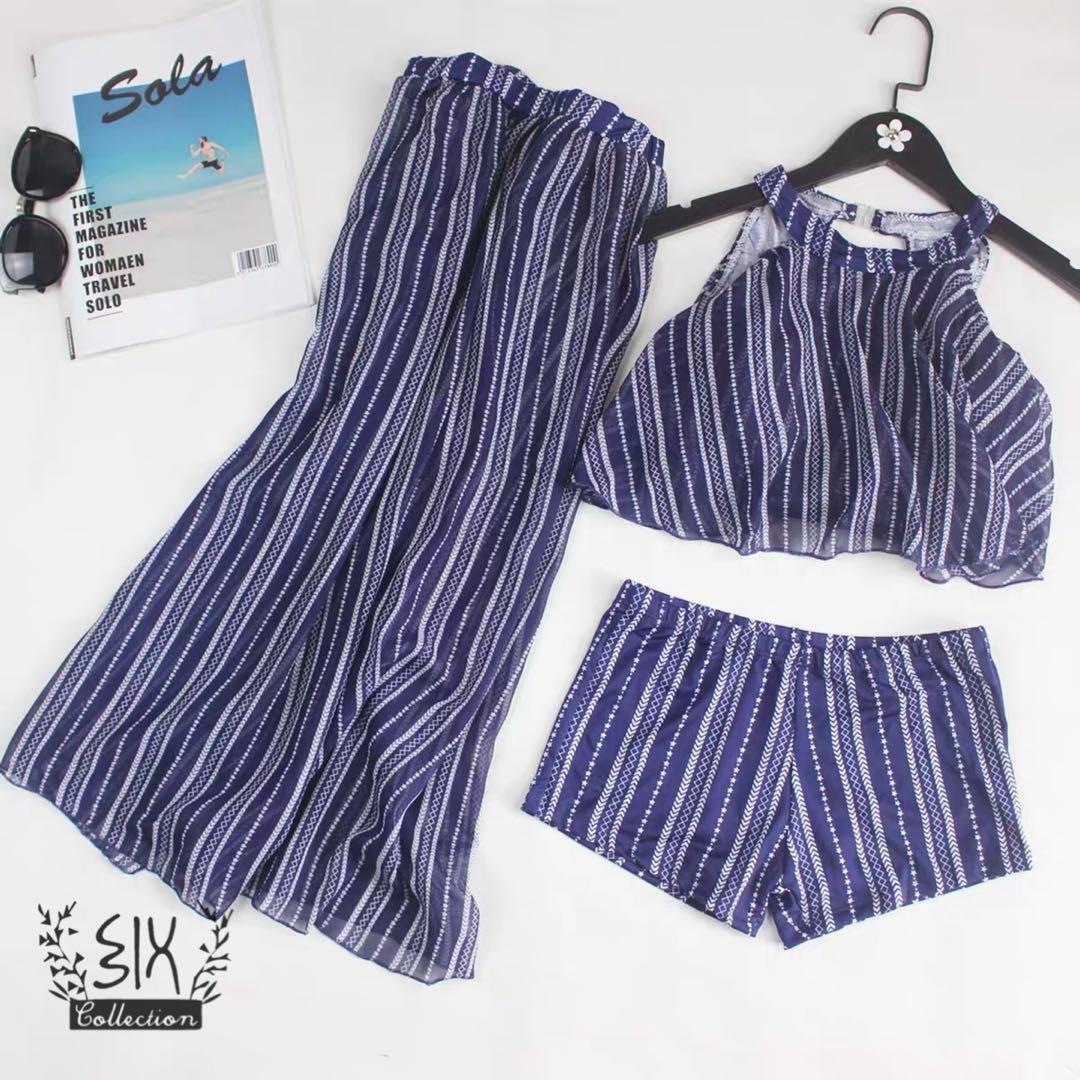 Bikini 泳衣 可試換 現貨 swimwear beach wear 沙灘裙 腰巾Woman stripe top