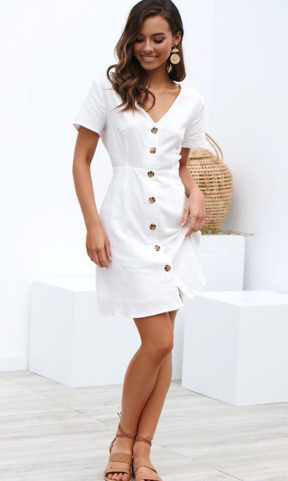 Billy J Boutique Brand New White Eva Dress, Size 8 / Small