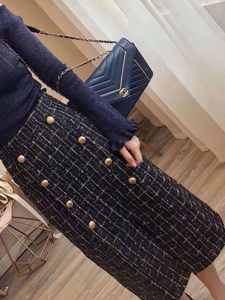 [BNIP] 2-Piece Off shoulder top + tweed skirt