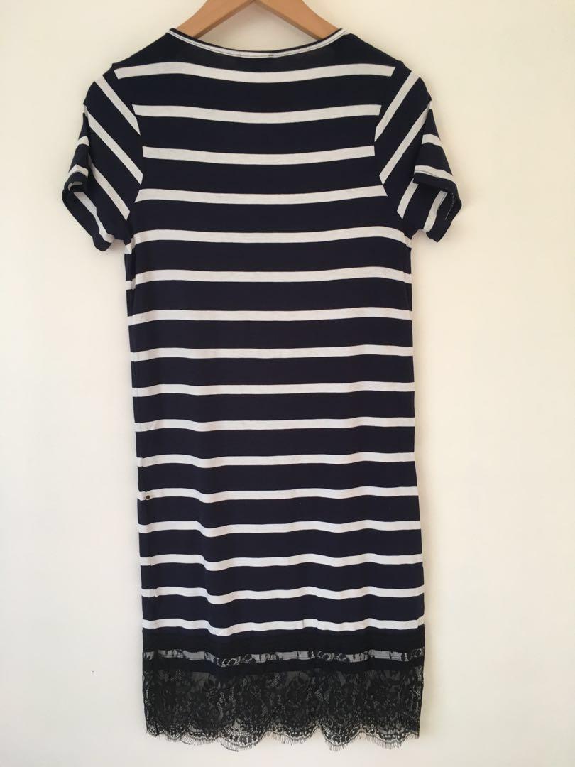 Bnwt Navy t shirt dress with stripes size 6 #swapau