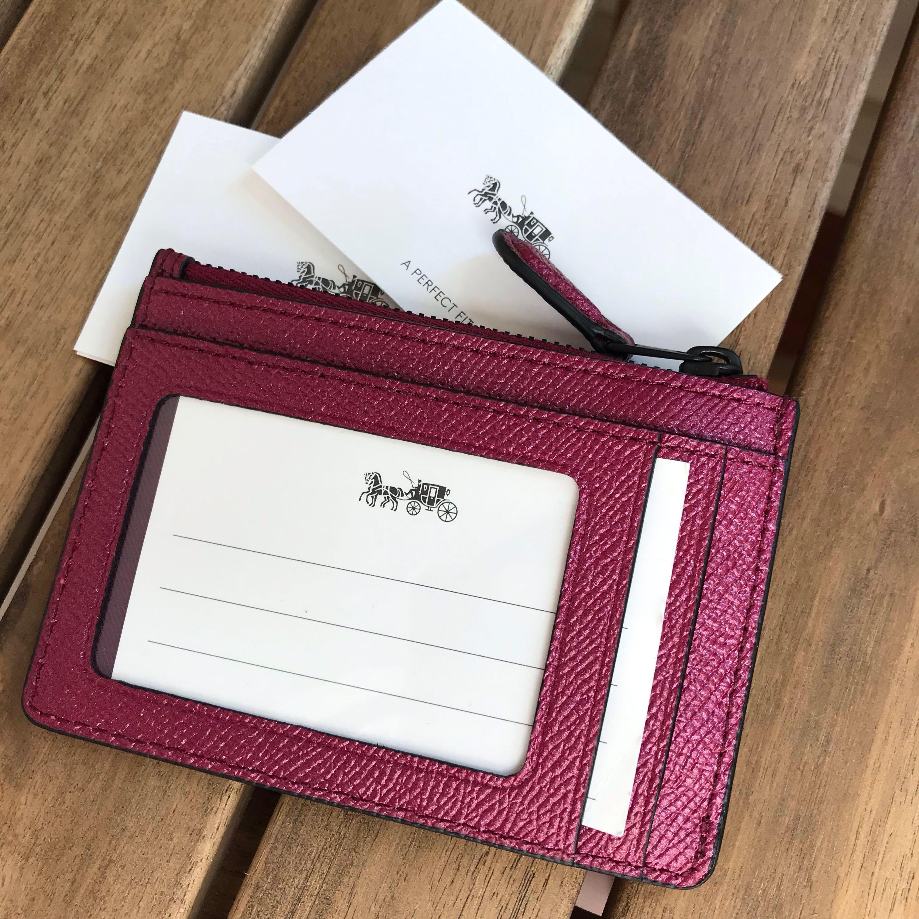 Brand NEW! COACH Skinny ID/coin case in rare iridescent colour
