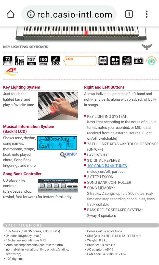 Casio 73鍵電子琴 LK80 日本製 操作正常