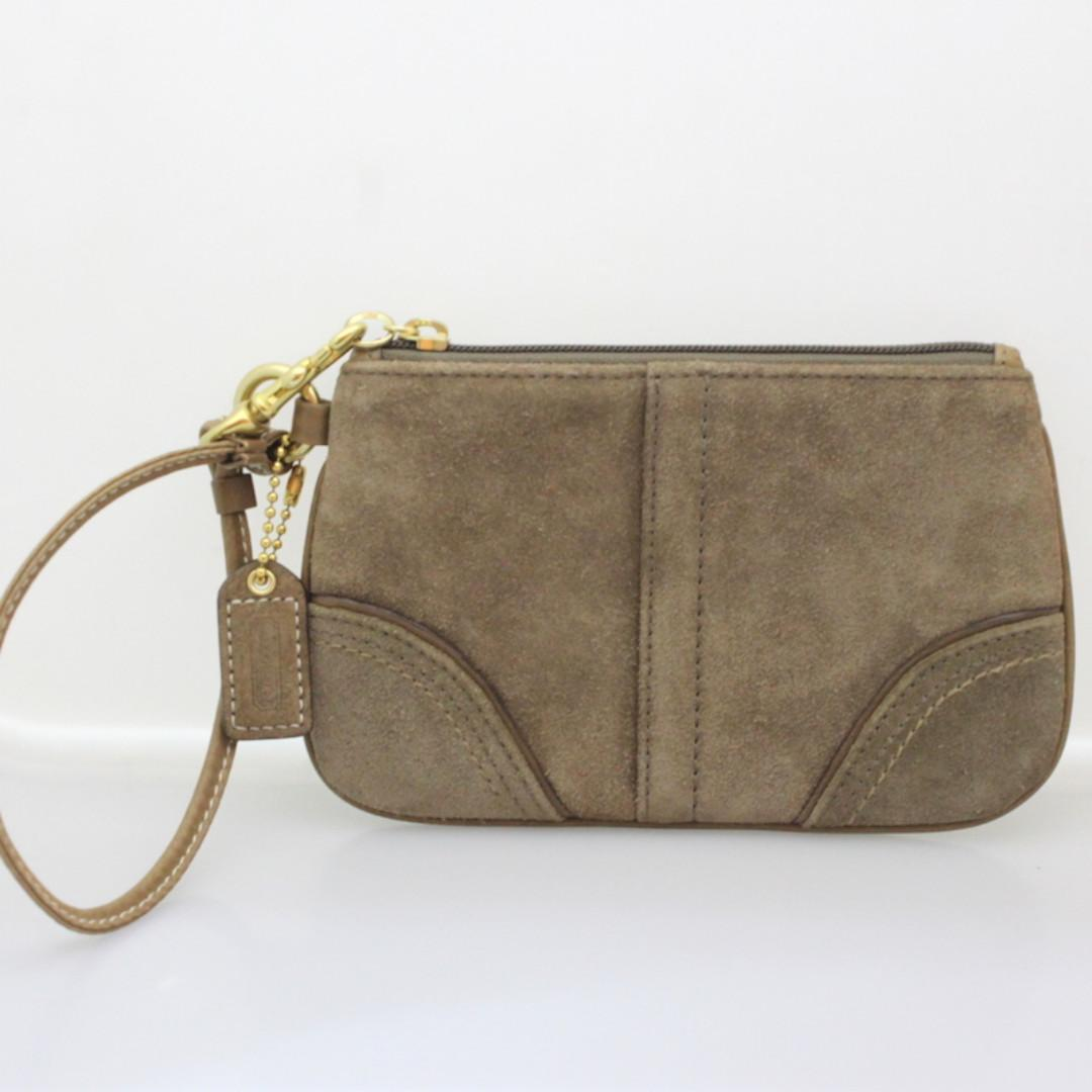 Coach Brown Suede Leather Wristlet