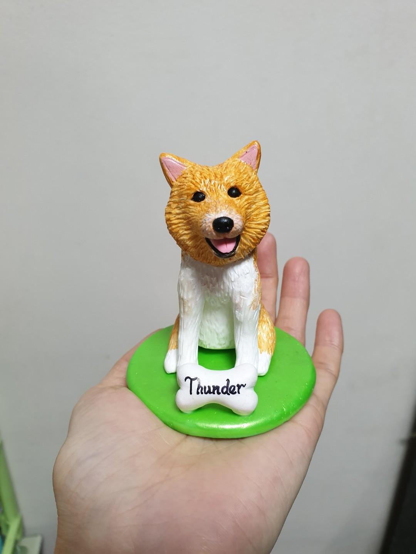 Costomise dog figurine Pomeranian made of polymer clay