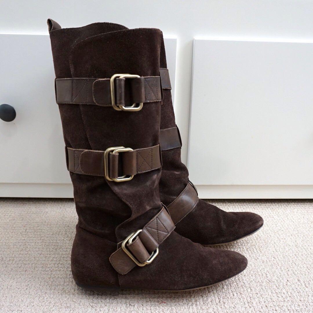 Dark brown suede leather Steve Madden biker boots #swapAU