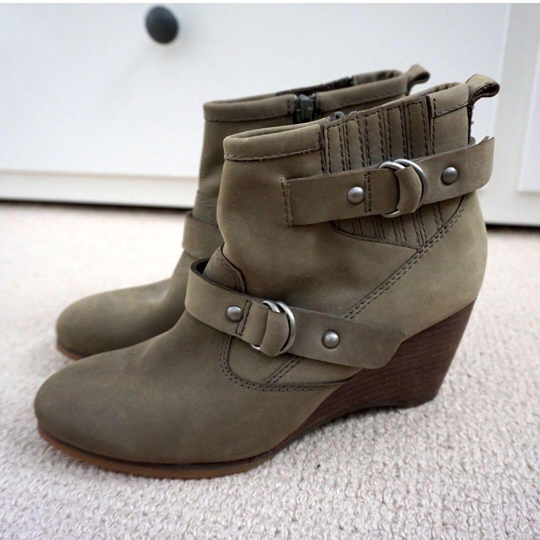 Esprit suede leather olive wedge ankle boots Size 36 #swapAU
