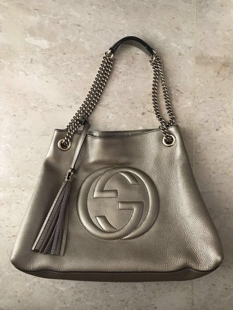 e72ea4b7e88 Gucci Gold Metallic Pebbled Calfskin Leather Soho Chain Tote Bag ...