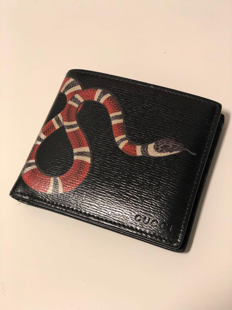 e3915d4d Gucci Snake Black Leather Wallet, Luxury, Bags & Wallets, Wallets on ...