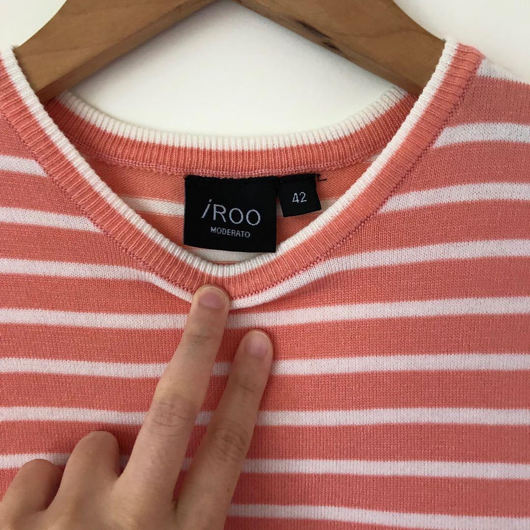 IROO 粉橘色條紋上衣