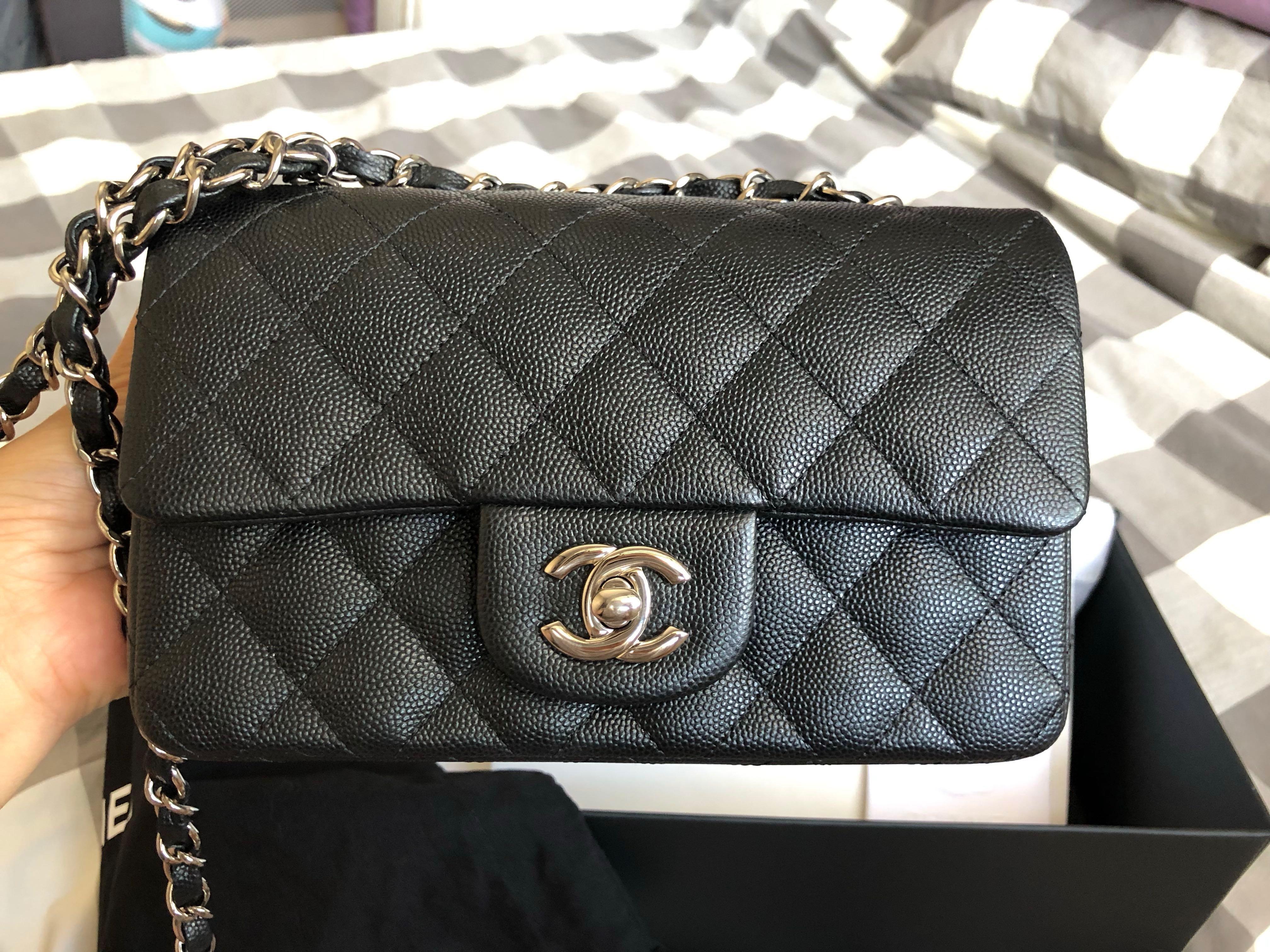 4e62aeadca21a6 LN chanel caviar mini rectangular black SHW , Luxury, Bags & Wallets,  Handbags on Carousell