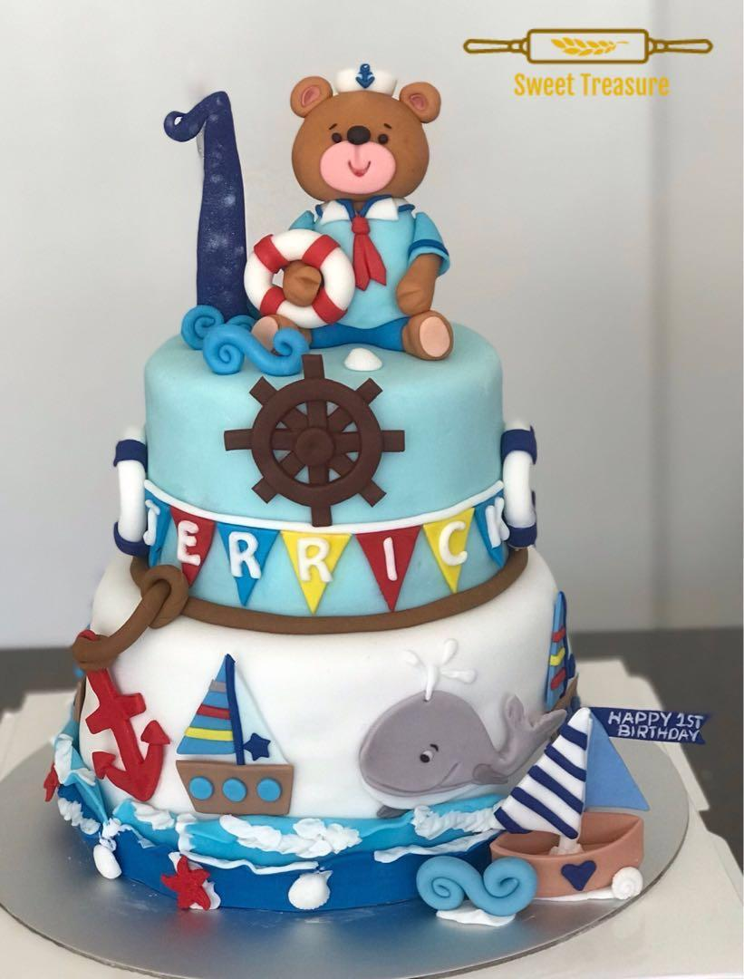 Swell Nautical Theme Cake Cupcakes Food Drinks Baked Goods On Carousell Funny Birthday Cards Online Inifodamsfinfo